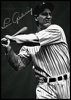 Lou Gehrig Poster by Semih Yurdabak