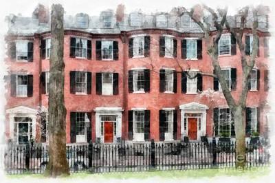 Louisburg Square Beacon Hill Boston Poster by Edward Fielding