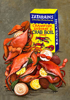 Louisiana Boiled Crabs Poster by Elaine Hodges