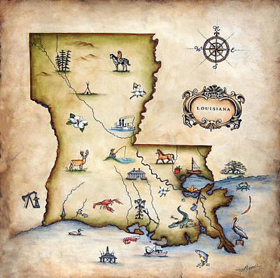 Louisiana Map Poster by Judy Merrell
