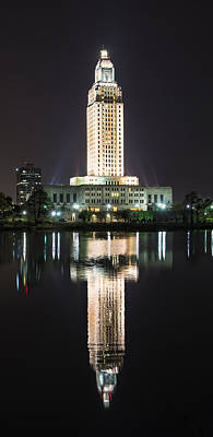 Louisiana State Capitol In Reflection Poster by Andy Crawford