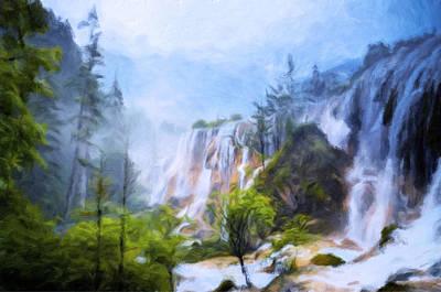 Love Affair By A Waterfall Poster by Georgiana Romanovna