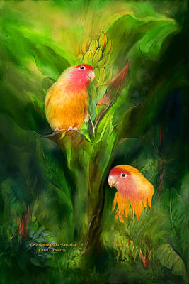 Peach-faced Lovebird Poster featuring the mixed media Love Among The Bananas by Carol Cavalaris