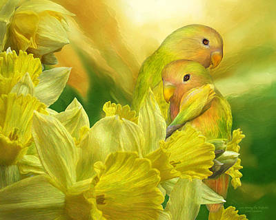 Peach-faced Lovebird Poster featuring the mixed media Love Among The Daffodils by Carol Cavalaris