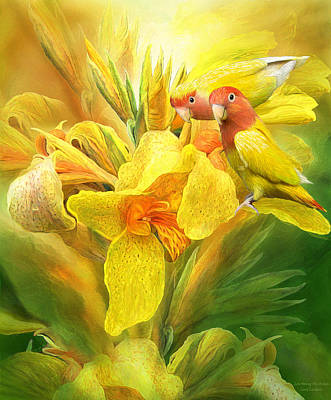 Peach-faced Lovebird Poster featuring the mixed media Love Among The Orchids by Carol Cavalaris