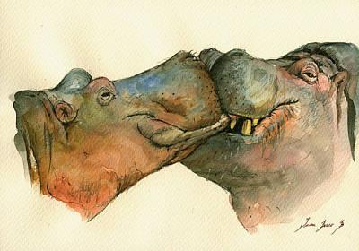 Love Between Hippos Poster by Juan  Bosco