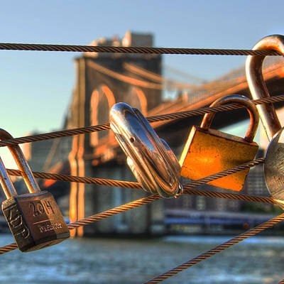 Love Locks - Brooklyn Bridge - New York City Poster by Joann Vitali