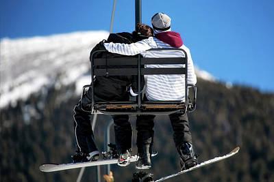 Lovers On Ski Lift Poster by Susan Schmitz