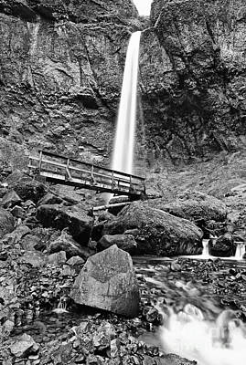 Lower Angle Of Elowah Falls In The Columbia River Gorge Poster by Jamie Pham