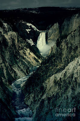 Lower Falls Viewed From Artist Point Yellowstone National Park Wyoming Lomo Digital Art Poster by Shawn O'Brien