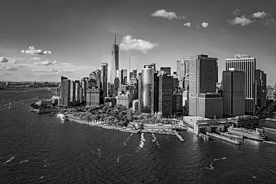 Lower Manhattan Aerial View Bw Poster by Susan Candelario
