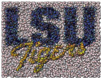 Lsu Bottle Cap Mosaic Poster by Paul Van Scott