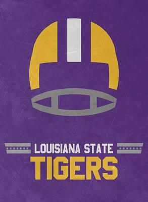Lsu Tigers Vintage Football Art Poster by Joe Hamilton