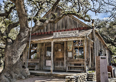 Luckenbach Tx Post Office Poster by Stephen Stookey
