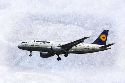 Lufthansa Airbus A320 Art Poster by David Pyatt