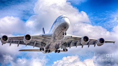 Lufthansa Airbus A380 In Hdr Poster by Rene Triay Photography