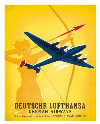 Lufthansa German Airways Archer Vintage Travel Poster By Willy Hanke Poster by Retro Graphics
