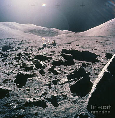 Lunar Rover At Rim Of Camelot Crater Poster by NASA / Science Source