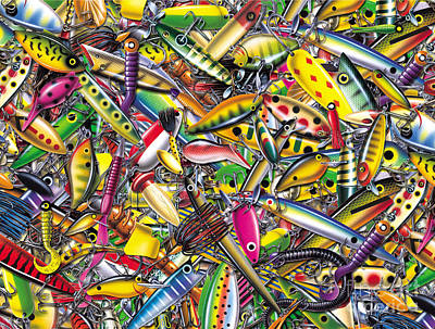 Lure Collage Poster by Jon Q Wright