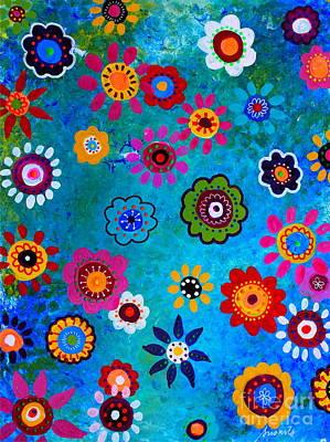 Lv Whimsical Flowers V Poster by Pristine Cartera Turkus