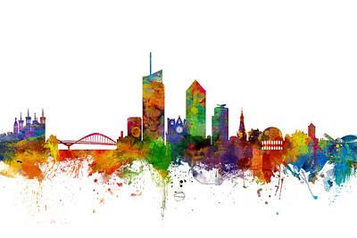 Lyon Skyline Cityscape France Poster by Michael Tompsett