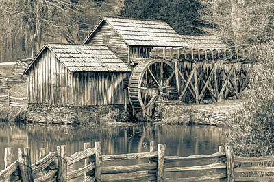 Mabry Mill In Black And White Poster by Gregory Ballos