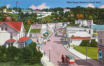 Mackinac Island Main Street Linen Restored Poster by Steven Covieo