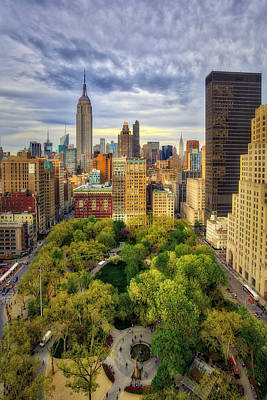 Madison Square Park Aerial View Poster by Susan Candelario