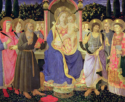 Madonna And Child Enthroned With Saints  Poster by Master of the Buckingham Palace Madonna