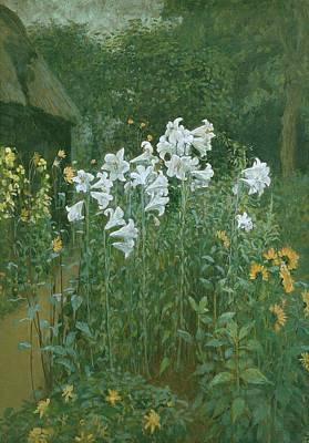 Madonna Lilies In A Garden Poster by Walter Crane