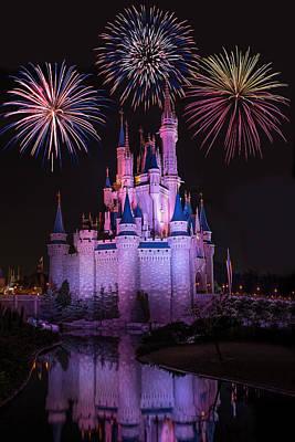 Magic Kingdom Castle Under Fireworks Poster by Chris Bordeleau