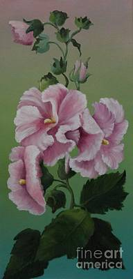 Magnificent Hollyhocks Poster by Louise Williams