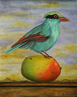 Magpie On A Mango Poster by Leah Saulnier The Painting Maniac