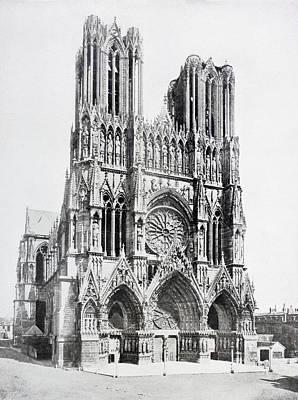 Main Facade Of Notre-dame De Reims  Our Poster by Vintage Design Pics