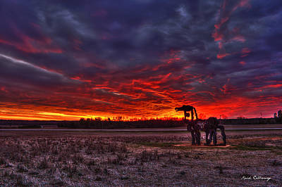 Majestic Red Clouds Winter Sunset The Iron Horse Poster by Reid Callaway