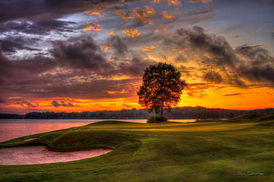 Majestic Sunset Golf The Landing Reynolds Plantation Lake Oconee Georgia Poster by Reid Callaway