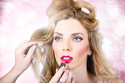 Makeup Artist Applying Lipstick On Beauty Model Poster by Jorgo Photography - Wall Art Gallery
