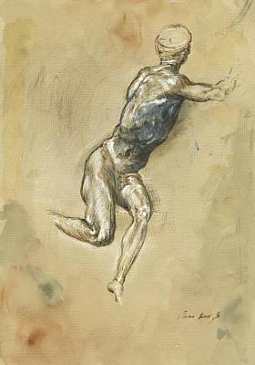 Male Nude Figure Poster by Juan Bosco