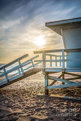 Malibu Lifeguard Tower #3 Sunset On Zuma Beach  Poster by Paul Velgos