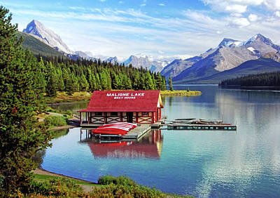 Maligne Lake Boathouse Poster by Carolyn Derstine