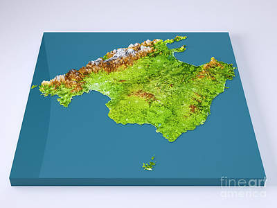 Mallorca Island 3d Model Topographic Map Color Frontal Poster by Frank Ramspott
