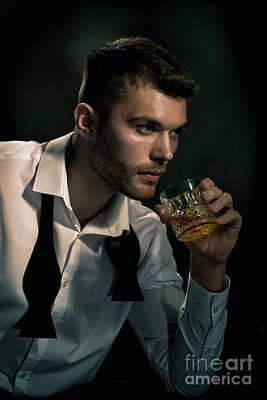 Man Drinking Whiskey Poster by Amanda Elwell