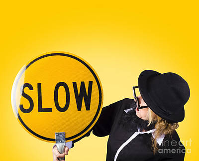 Man Holding Slow Sign During Adverse Conditions Poster by Jorgo Photography - Wall Art Gallery