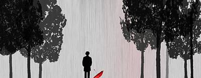 Man In Rain Poster by Jim Kuhlmann