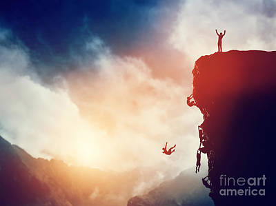 Man On The Peak Of Mountain Against Others Struggling To Climb Poster by Michal Bednarek