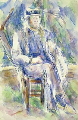 Man Wearing A Straw Hat Poster by Paul Cezanne