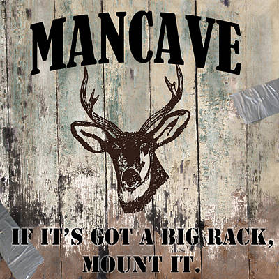 Mancave Deer Rack Poster by Mindy Sommers