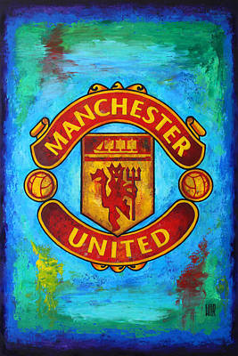 Manchester United Vintage Poster by Dan Haraga