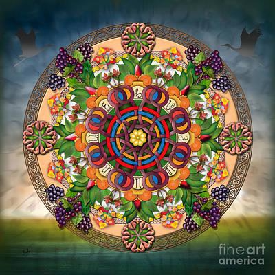 Mandala Armenian Grapes Poster by Bedros Awak