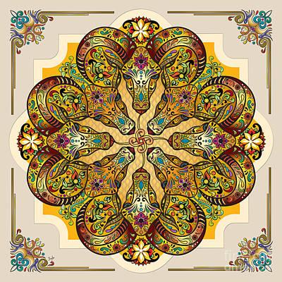 Mandala Sacred Rams - Bright Version Poster by Bedros Awak